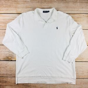 mens long sleeve white Ralph Lauren polo shirt XXL